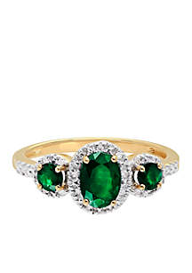 0.06 ct. t.w. Diamond and Emerald Ring in 10k Yellow Gold
