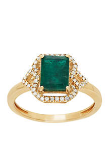 1/7 ct. t.w. Diamond and Genuine Emerald Ring in 10k Yellow Gold