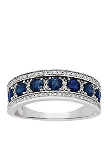 1/5 ct. t.w. Diamond and Genuine Sapphire Ring in 10k White Gold