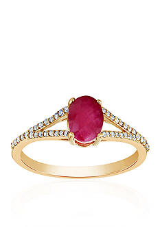 Belk & Co. Oval Ruby and Diamond Ring in 10k Yellow Gold