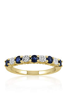 Diamond & Sapphire Band Ring in 10K Yellow Gold