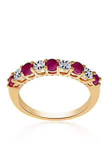 Ruby & Diamond Band in 10K Yellow Gold