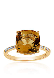 Citrine and Diamond Ring in 10k Yellow Gold