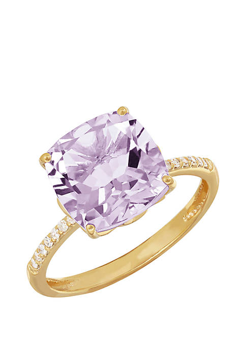 4 ct. t.w. Pink Amethyst and 0.07 ct. t.w. Diamond Cushion Ring in 10k Yellow Gold