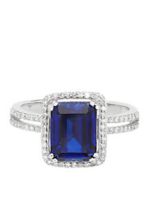 3.0 ct. t.w. Created Sapphire And Diamond Ring in 10K White Gold