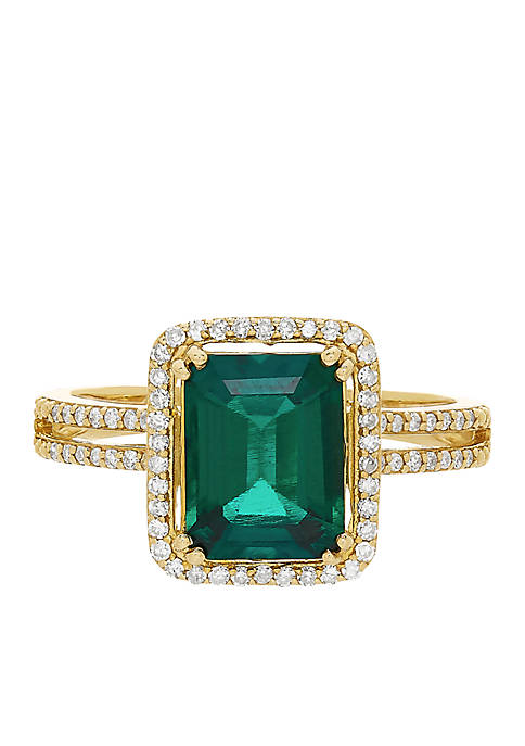 1.9 ct. t.w. Created Emerald And Diamond Ring in 10K Yellow Gold