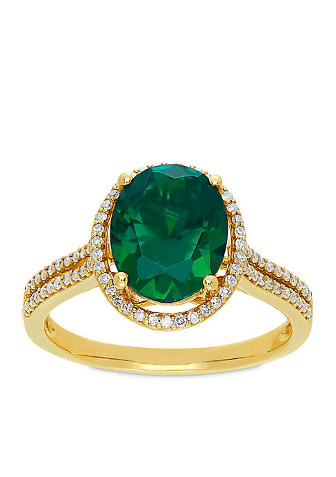 2.6 ct. t.w. Oval Cut Created Emerald and Diamond Ring in 10k Yellow Gold