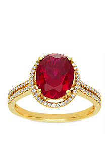 3.5 ct. t.w. Oval Cut Created Ruby and Diamond Ring in 10k Yellow Gold