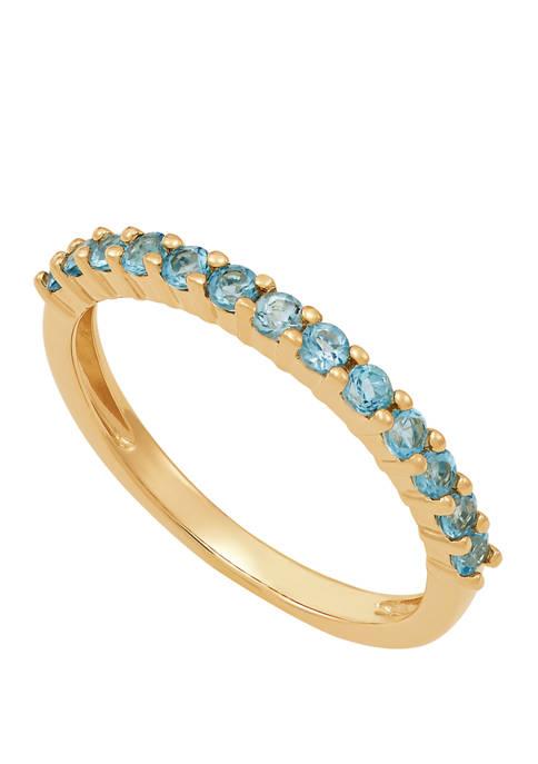 Swiss Blue Topaz Ring in 10K Yellow Gold