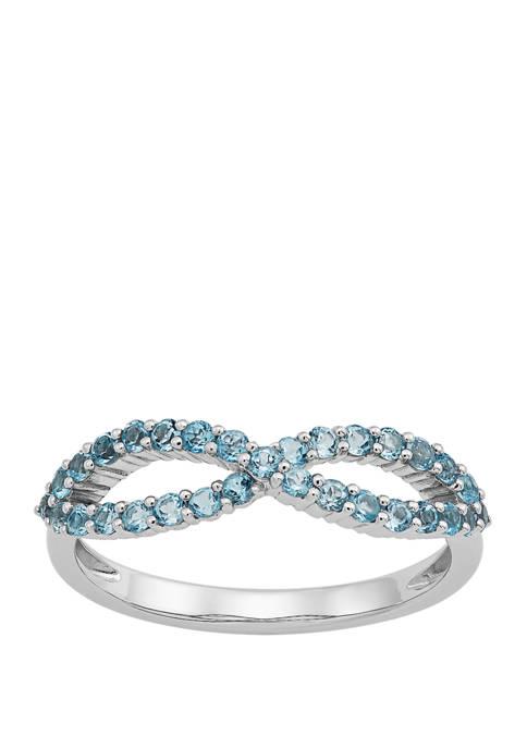 Swiss Blue Topaz Infinity Ring in 10K White Gold