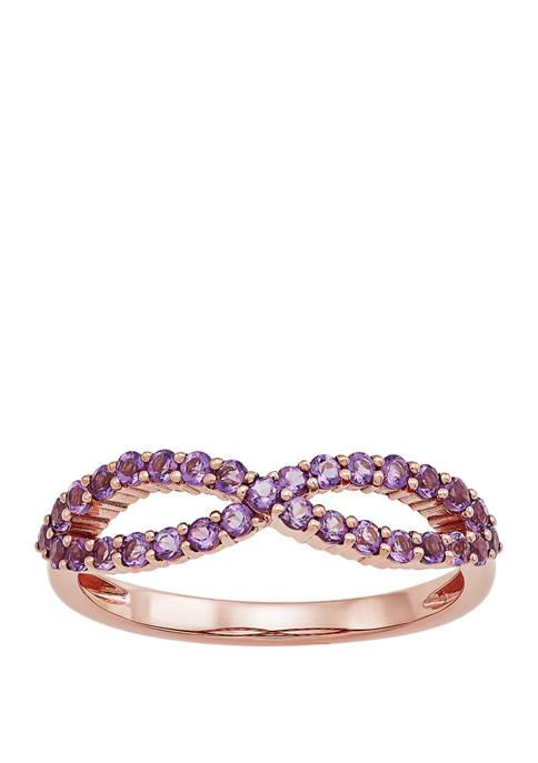 Amethsyt Infinity Ring in 10K Rose Gold
