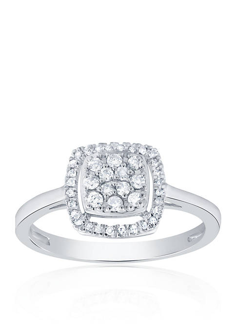0.26 ct. t.w. Diamond Square Cluster Ring in 10K White Gold