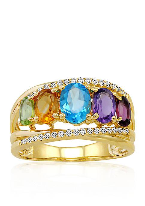 Multi Semi Precious Band Ring in 10k Yellow Gold