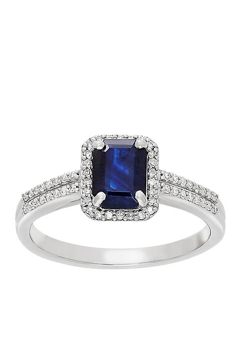 1/6 ct. t.w. Diamond and Genuine Sapphire Ring in 10k Yellow Gold