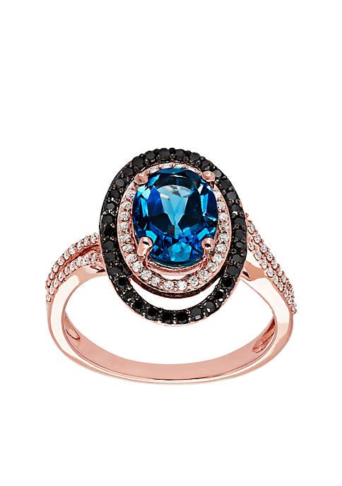 3/8 ct. t.w. Diamond and London Blue Topaz Ring