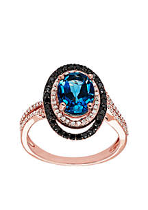 3/8 ct. t.w. Diamond and London Blue Topaz Ring