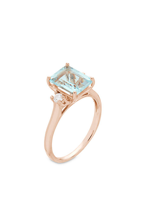 Belk & Co. 10K Rose Gold Aquamarine Diamond