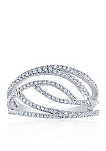 3/8 ct. t.w. Diamond Open Swirl Ring in 10k White Gold