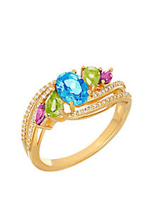 1/7 ct. t.w. Diamond and Multi Stone Ring in 10k Yellow Gold