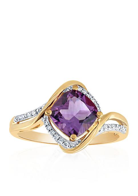 Belk & Co. Amethyst and Diamond Ring in