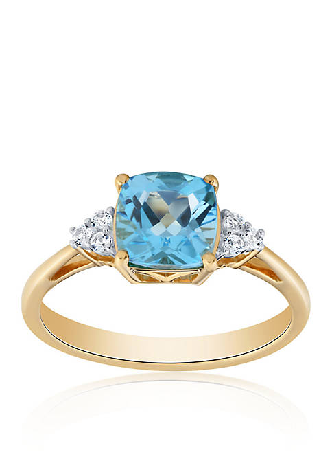 Blue Topaz and White Topaz Ring in 10K Yellow Gold