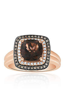 Smokey Quartz and Diamond Ring in 10K Rose Gold
