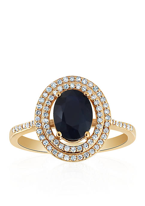 Oval Sapphire & Diamond Ring in 10K Yellow Gold
