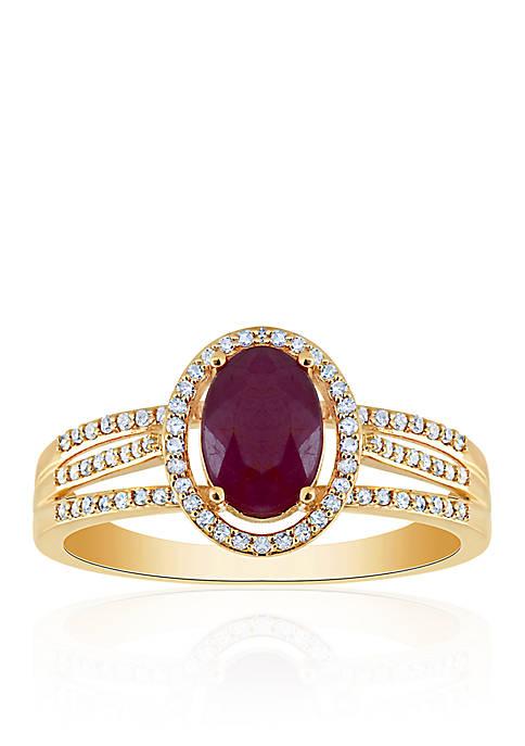 Ruby & Diamond Ring in 10K Yellow Gold