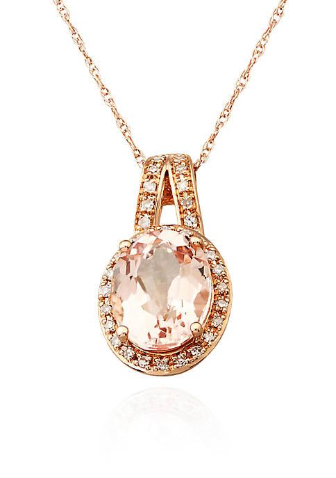 Belk & Co. Morganite and Diamond Pendant Necklace