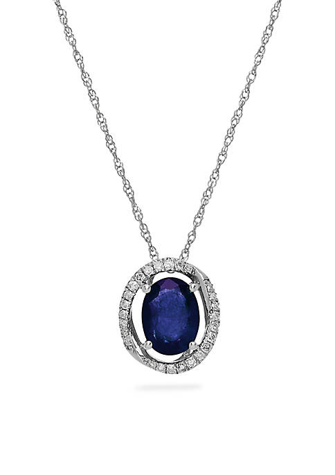 1.50 ct. t.w. Genuine Sapphire and Diamond Pendant Necklace in 10K White Gold