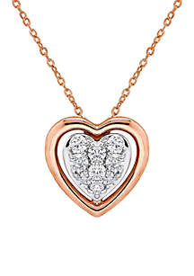 1/4 ct. t.w Diamond Heart Pendant Necklace in 10K Rose Gold