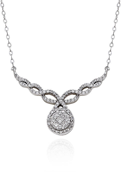 Diamond Teardrop Pendant Necklace in 10K White Gold