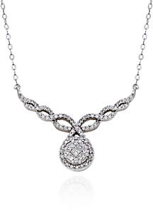 Diamond Teardrop Pendant Necklace in 10K White Gold