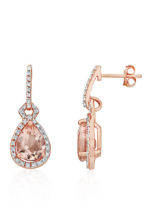 Morganite and Diamond Drop Earrings in 10k Rose Gold