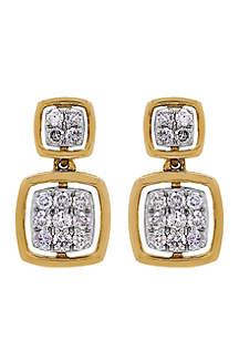 3/8 ct. t.w. Diamond Square Drop Earrings in 10k Yellow Gold