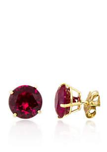 Belk & Co. Ruby Stud Earrings in 10K Yellow Gold