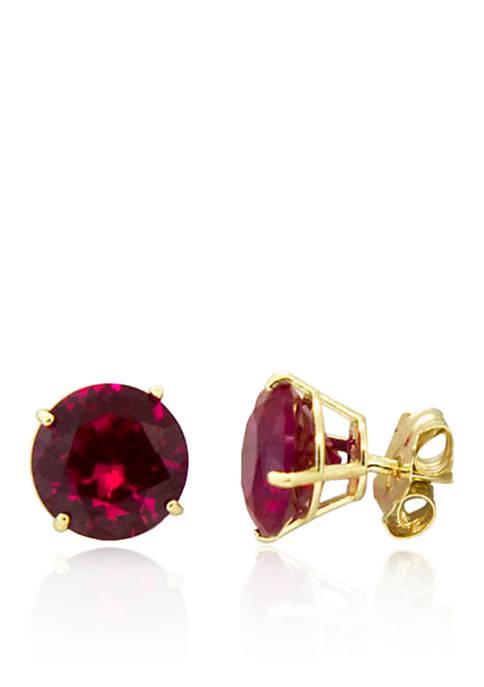 Garnet Stud Earrings in 10K Yellow Gold