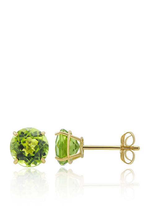 Peridot Stud Earrings in 10K Yellow Gold
