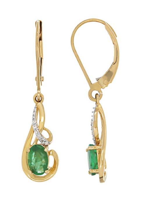 Belk & Co. Emerald Drop Earrings in 10K