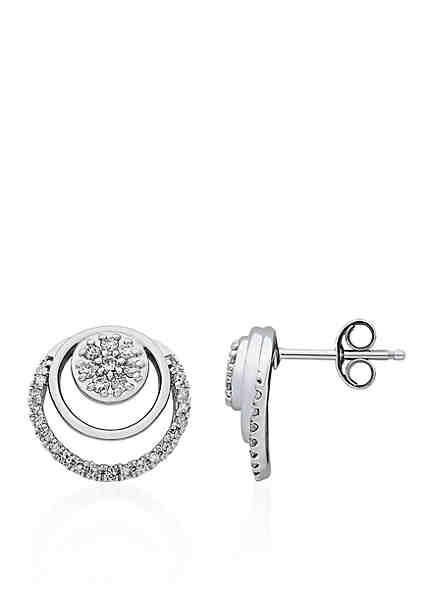 Belk Co 10k White Gold Diamond Earrings
