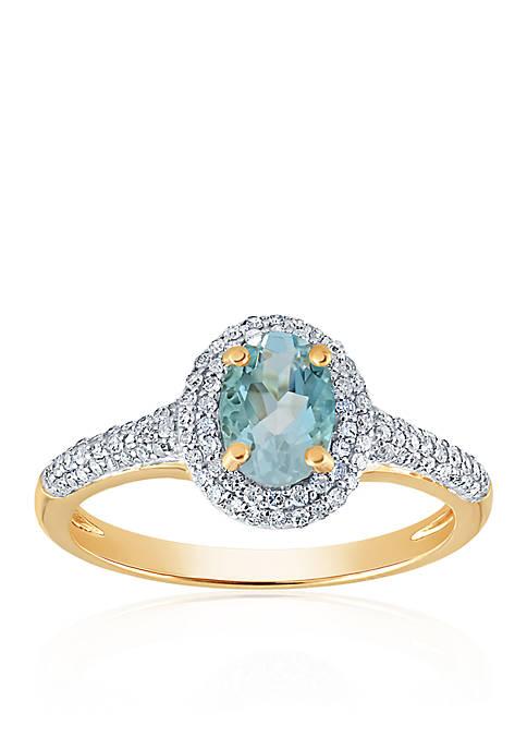 Belk & Co. Aquamarine and Diamond Ring in