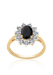 Onyx and Diamond Ring in 10K Yellow Gold