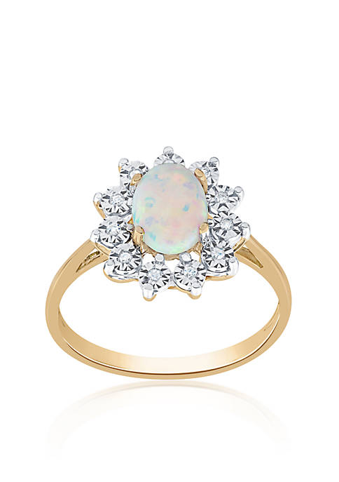 Belk & Co. Opal and Diamond Ring in