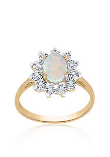 Opal and Diamond Ring in 10K Yellow Gold
