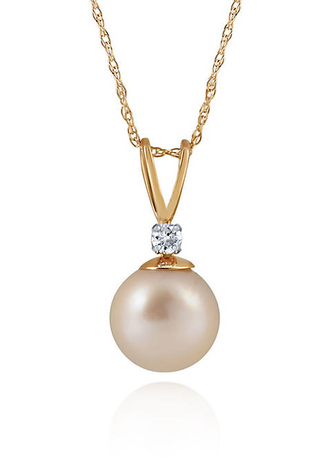 Freshwater Pearl & Diamond Necklace in 10K Yellow Gold