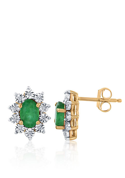 Belk & Co. Emerald and Diamond Oval Earrings