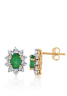 Emerald and Diamond Oval Earrings in 14k Yellow Gold