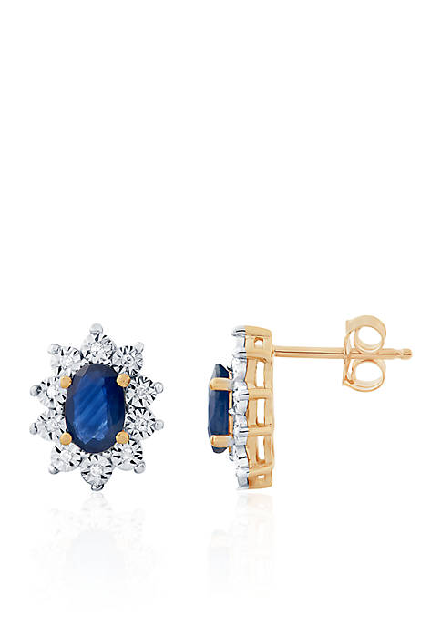 Sapphire and Diamond Earrings in 10k Yellow Gold