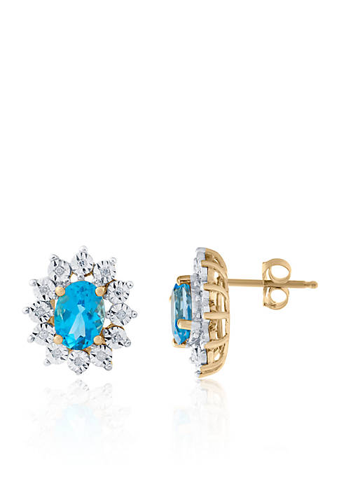 Blue Topaz and Diamond Oval Stud Earrings in 10k Yellow Gold