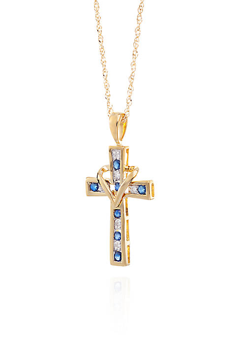 Belk & Co. Blue Sapphire & Diamond Cross